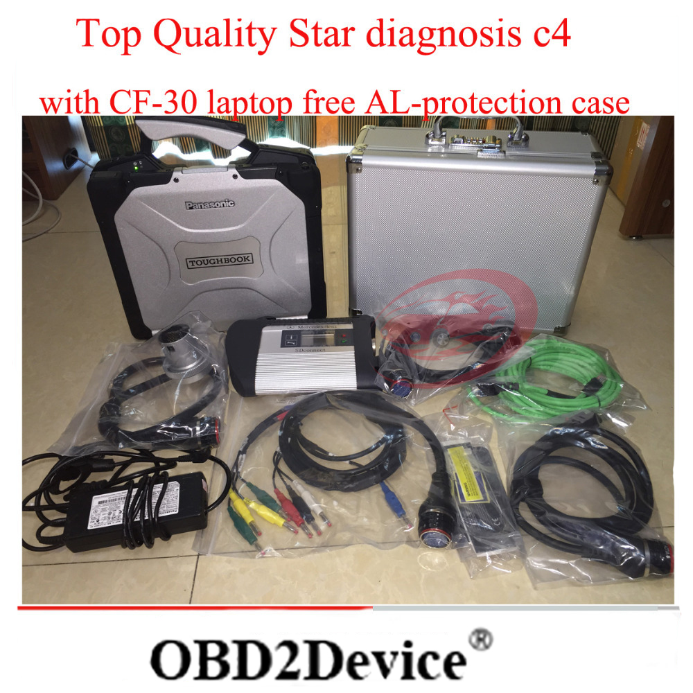 Quality SSS++ mb Star c4 with original CF-30 military laptop+AL-protection case for mb xentry c4 sd connect obd diagnose Scanner