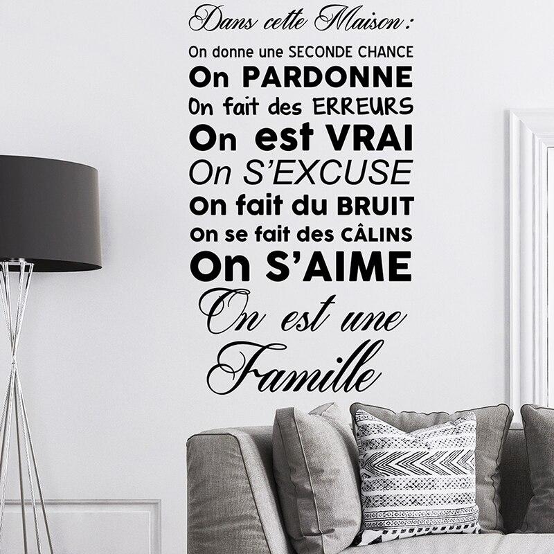 Stickers Citation Dans Cette Maison On Est Une Famille Vinyl Wall