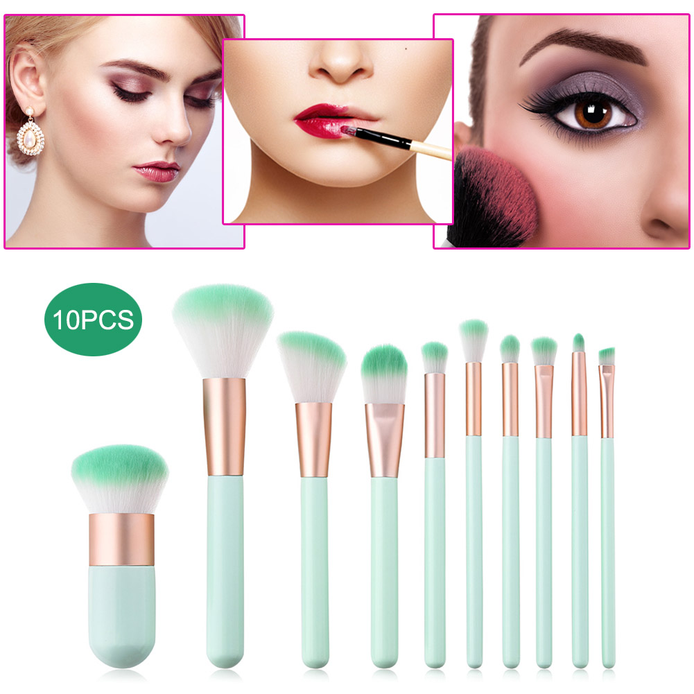 2018 10Pcs/set Professional Makeup Brushes Set Kit Nylon Hair Brushes Beauty Make Up Too ...
