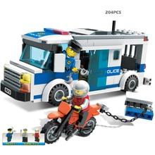 204pcs kids Blocks birthday gift Prisoners car DIY toys educational building blocks comptible with legoe city Policemen