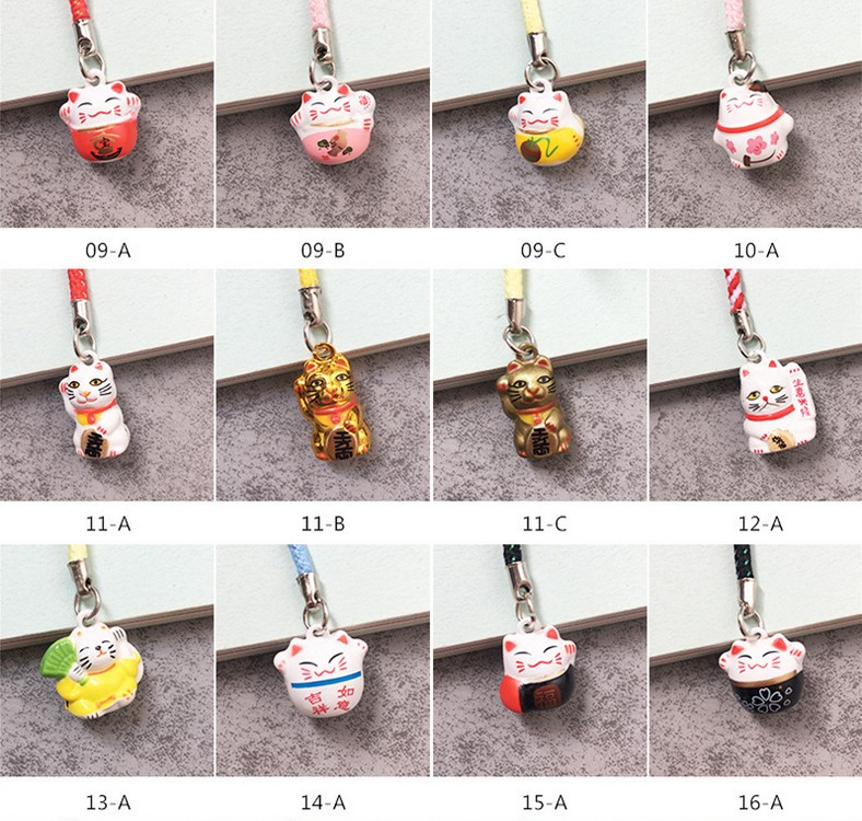 1 Adorable Lucky Fortune Cat Metal Bell Mobile Phone Charm Strap #9