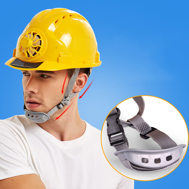 Solar Powered Helmet with Fan for Outdoors