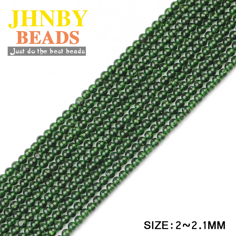 JHNBY AAA Small Green Sand Stone High quality 2mm Round