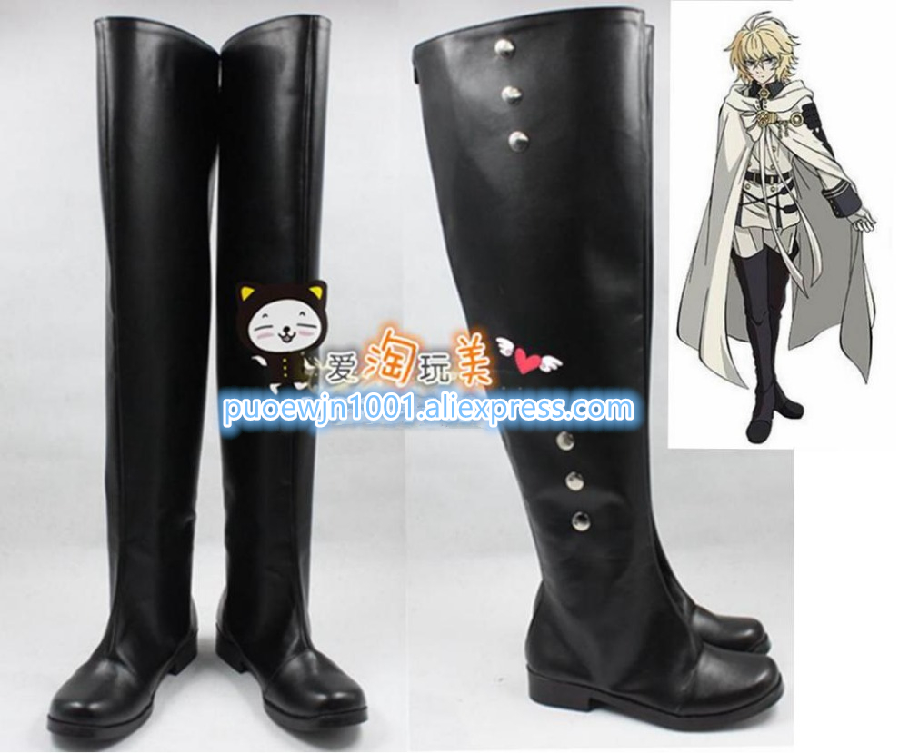 New Free Shipping Cosplay shoes Seraph of the End Mikaera Hyakuya Cosplay shoes New in Stock Retail / Wholesale Halloween shoes