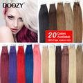 "Doozy 7A Tape Hair Extensions 16"" 18"" 20"" 22"" 24"" 20pcs/set Tape In Remy Human Hair Skin Weft Brazilian Hair Extension"