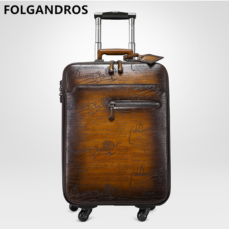 Brand Italian Cowhide Leather Trolley Case Business Luggage Genuine Leather Universal Wheel Password Boarding 22
