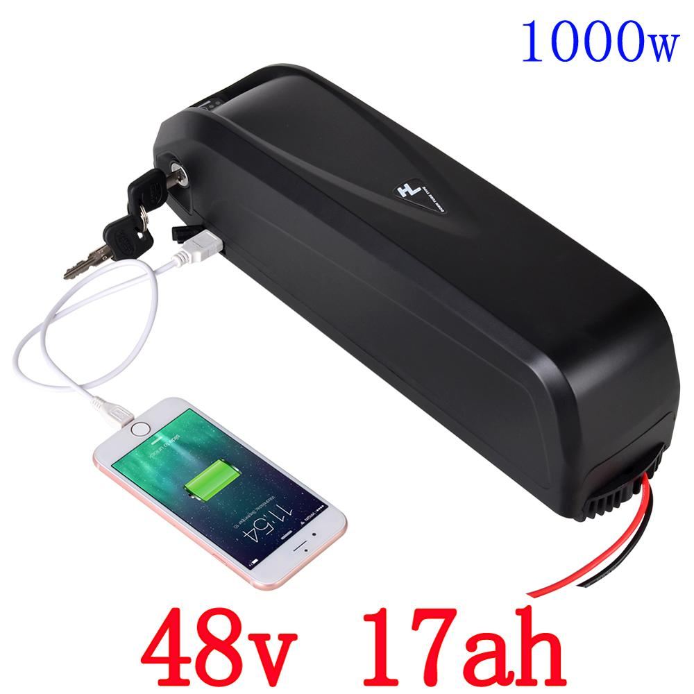 Free Customs Tax bike battery with USB 48V 17Ah Li-ion Ebike battery for 8Fun/Bafang BBS02B BBSHD 48V 750W 1000W Motor free customs taxes 48v 1000w bafang down tube ebike battery 48v 15ah samsung electric bike li ion battery with charger and bms