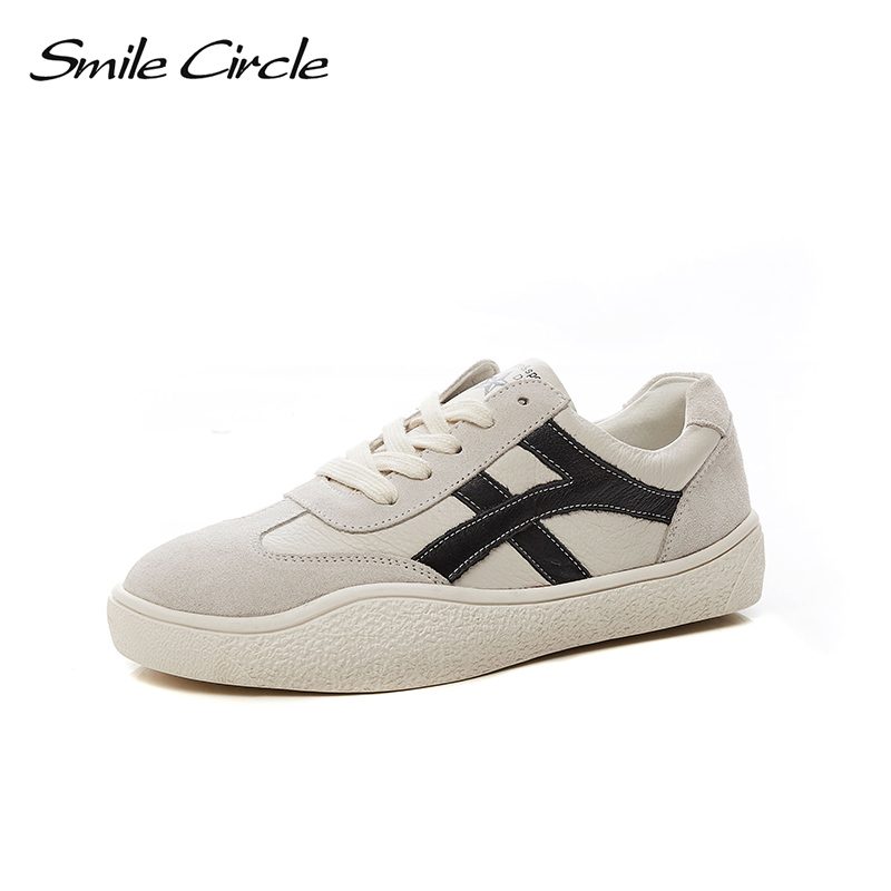 Smile Circle 2018 New Genuine Leather Sneakers Women Lace-up Flats Shoes Women Casual Shoes Round toe Flats platform Shoes C6006 qmn women snake effect leather brogue shoes women round toe platform oxfords shoes woman genuine leather casual platform flats