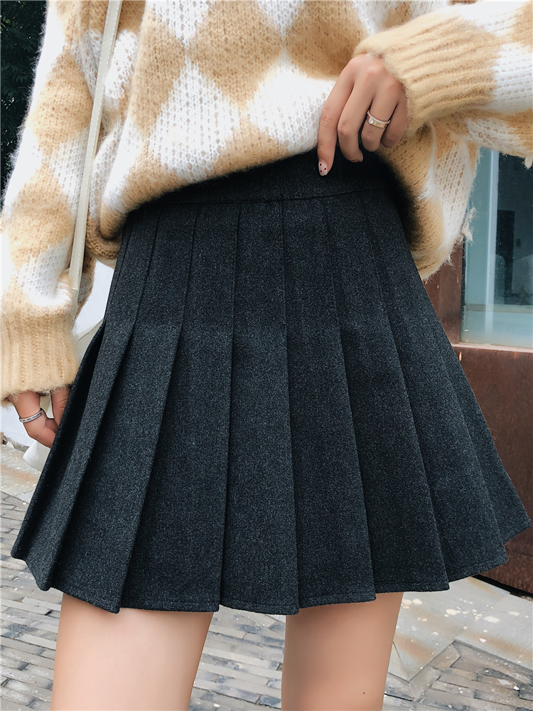 Korean Style Women Zipper High Waist Sexy Pleated Skirts Girl Harajuku Skirt Solid A-line Mini Japan Korean Style School Uniform