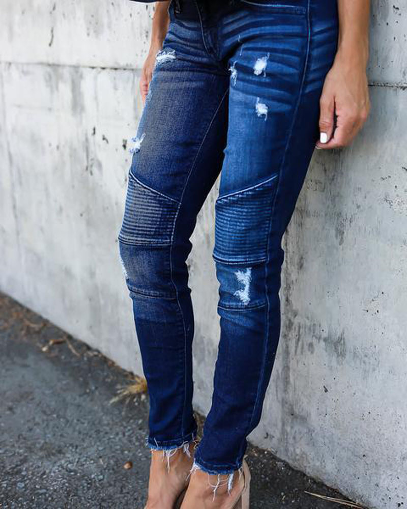 Women Denim Skinny Pants Ripped Destroyed Pleated Stretch Jeans Slim Pencil Trousers 12