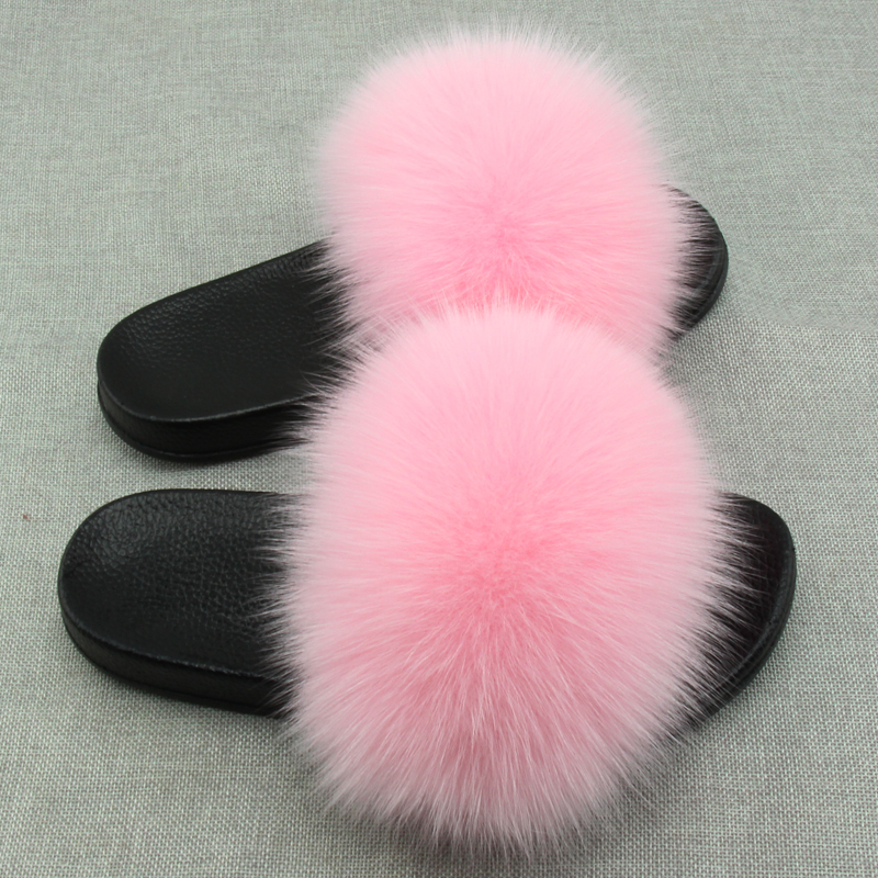 Fox Fur Slippers Women Home Fluffy Fur Sliders Plush Furry Summer Flats Sweet Ladies Shoes Large Size Natural Real Fur Slippers aoxunlong hot fox fur slides woman fox fur slipper fox fur slippers women home slippers badslippers flat slippers for women new