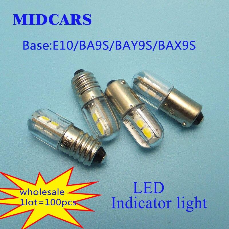 MIDCARS 6V t4w ba9s e10 LED LIndicator light 36V Bulb H21W BAY9S 12V SMD LEDs 48V