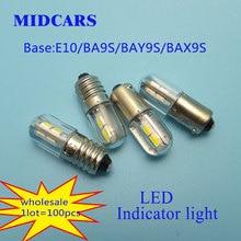 Midcars 6V T4w Ba9s E10 Led Lindicator Licht 36V Lamp, h21W BAY9S 12V Smd Leds/48V 24V Naar 60V Lamp Groothandel
