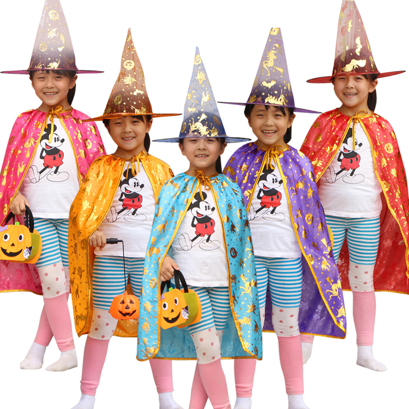 Free shipping Costume Cosplay Pumpkin/Spider Web/Stripe Kids Happy Halloween Set Wizard Witch Cloak Cape Robe and Hat for Boy