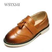 Children Leather Shoes for Boys Genuine Leather Dress Shoes Kids Low heel Oxford Wedding Shoes Black Rubber Sole Pigskin Inside
