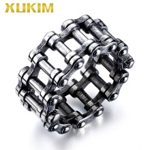 RO105 Xukim Jewelry 2019 Hip Hop Bike Link Ring Silver Punk Men's Ring(China)