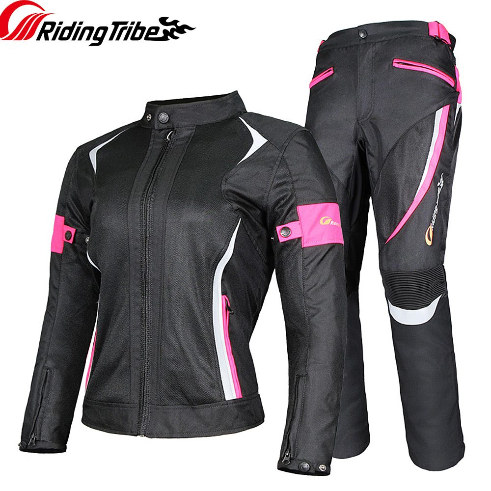 Women Motorcycle Jacket Pants Summer Ladies Riding Raincoat Safety Suit with 9pcs Protective Gears and Waterproof Lining JK 52|Jackets| |  - title=