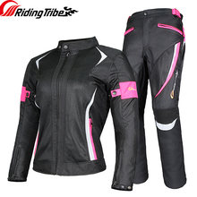 Women Motorcycle Jacket Pants Summer Ladies Riding Raincoat Safety Suit with 9pcs Protective Gears and Waterproof Lining JK-52(China)