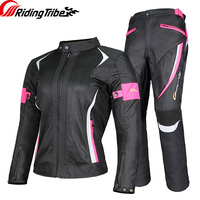 Women Motorcycle Jacket Pants Summer Ladies Riding Raincoat Safety Suit with 9pcs Protective Gears and Waterproof Lining JK 52