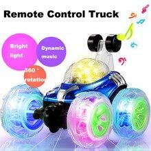 360 дистанционное управление автомобиля спиннинг и сальто с цветной вспышкой и музыкой для детей Дистанционное управление грузовик