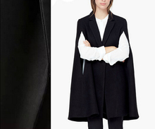 2015 Winter New Women Fashion Long Black Cape Style COAT With Split sleeved Cloak overcoat(China)