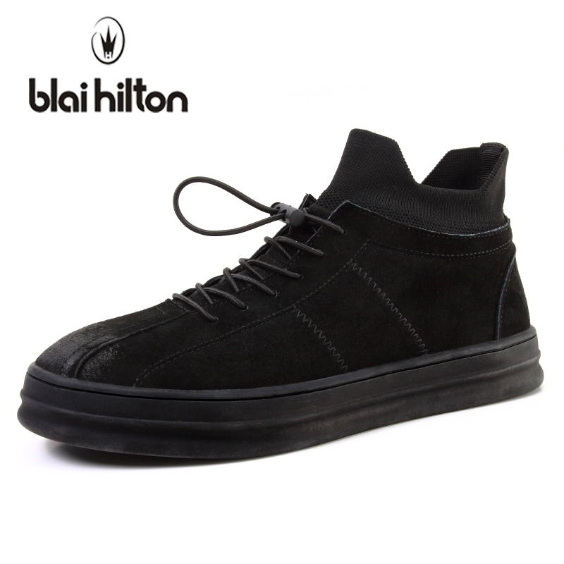 blaibilton 2018 Spring High Top Men Casual Shoes Genuine Leather Personality Luxury Fashion Male Sneakers Footwear Thick Sole blaibilton brand winter warm velvet high top men casual shoes luxury genuine leather male footwear fashion designer mens sd3599