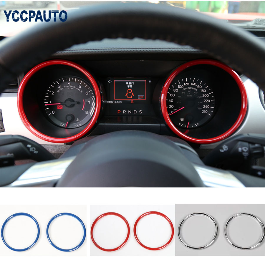 car styling Dashboard Outlet Frame Ring Decorative Covers Trims Interior Moulding ABS For Ford Mustang 2015