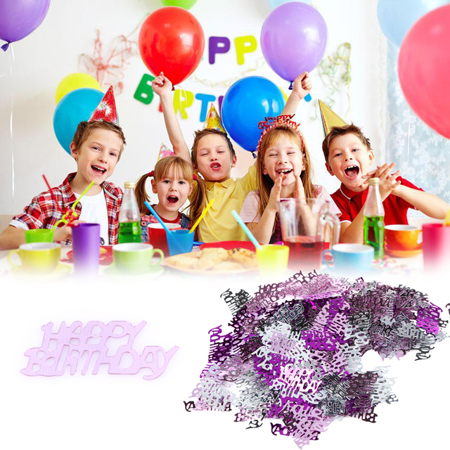 200 PCS Plastic Happy Birthday Pattern Table Confetti Courtship Colorful Paper Particles Party Decoration