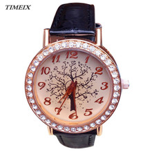 New Fashion Women's Watch Tree Dial Lady Leather Band Round Crystal Hour Quartz Watch Casual Watches Female Free Shipping,Jan 16