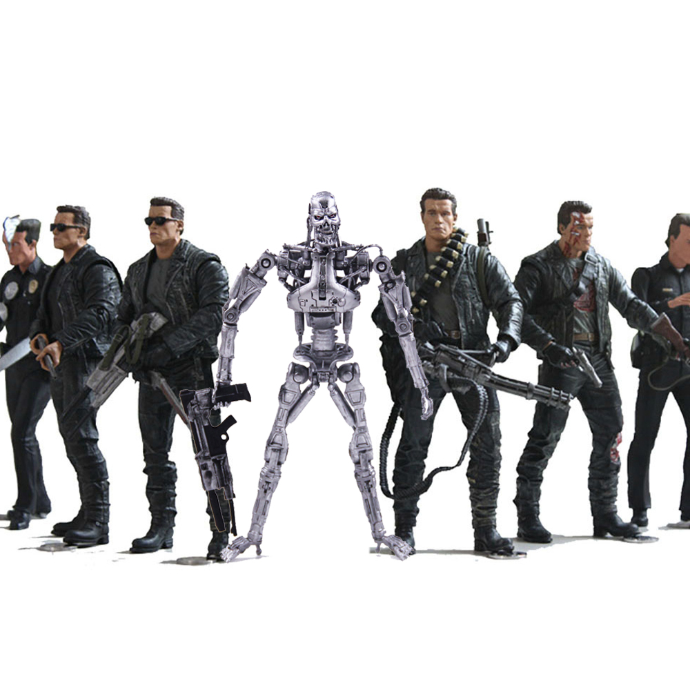 7 Types The Terminator 2 Action Figure T-800 T-1000 PVC Action Figure Toy Collection Model Toy 18cm free shipping neca the terminator 2 action figure t 1000 galleria mall figure toy 718cm mvfg037