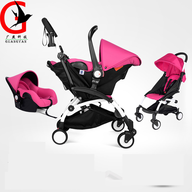 Can sit down baby stroller landscape high safety basket folding pushchair portable umbrella car twin stroller high landscape can lay the portable folding baby cart
