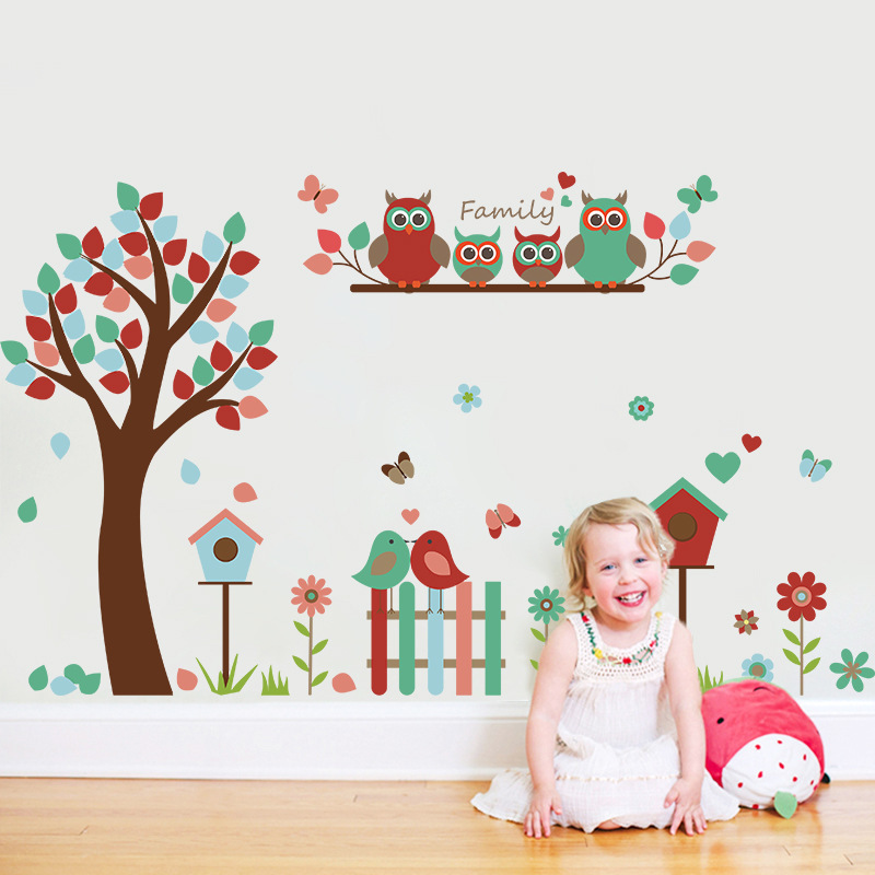 New Cartoon Monkey Owl Animal Wall Stickers for Kids Rooms Boys Girls Bedroom Decor Tree Stickers for Wall Kids Room Decoration in Wall Stickers from Home Garden