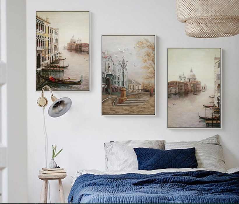 Вода Город картины на холсте с изображением пейзажа модульные картины стены искусства холст для гостиной украшения без рамки