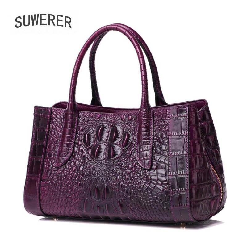 SUWERER 2019 New Women Genuine Leather bags Crocodile pattern fashion luxury handbag women bags designer women leather handbags