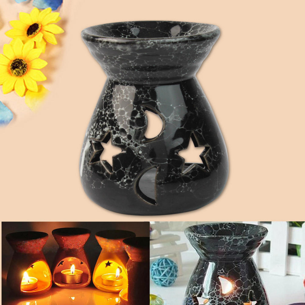 Fashion Black Ceramic Scent Essential Oil Burner Lavender Fragrance Aromatherapy Diffuser Gift image