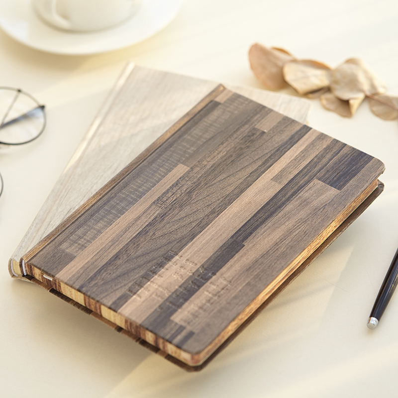 Hard Cover Aoki Wooden Simple Vintage Diary Ruled Notebook Lined Journal