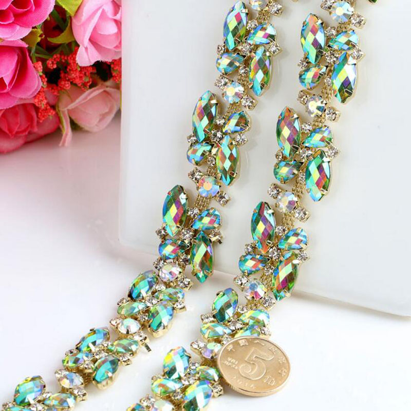 1Yard Diamante Trimming Crystal Strass Chain DIY Decorative Rhinestone Trims Sew On Craft Sewing Rhinestones Appliques in Rhinestones from Home Garden