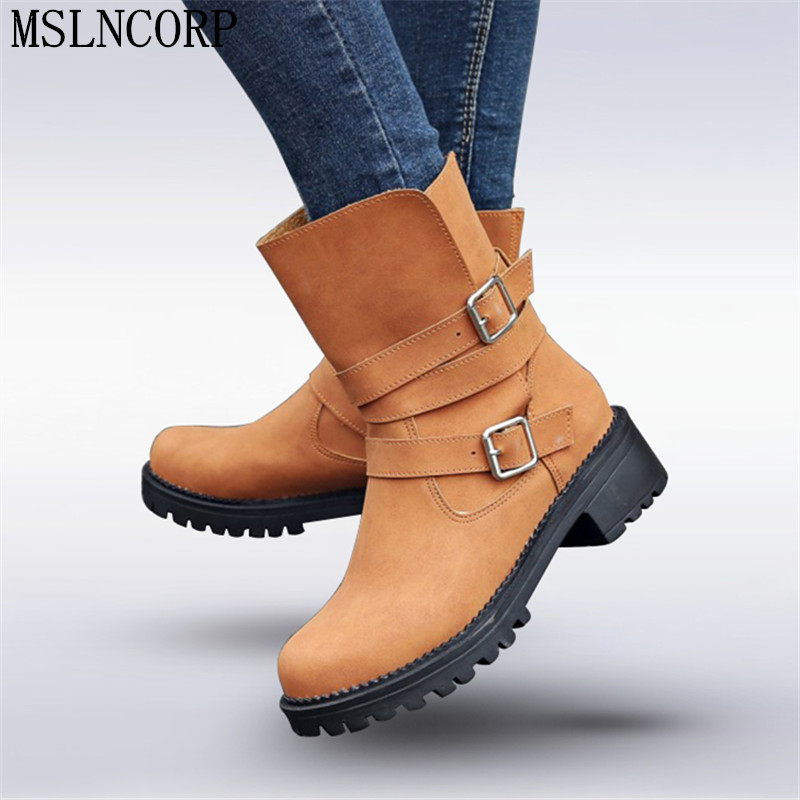 Size 34-43 Retro Vintage Motorcycle Boots Mid-Calf Ankle Strap Buckle Women Shoes Western Designer Flat Knight Boots Feminina double buckle cross straps mid calf boots