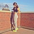 Sportswear 2016 Mulheres de Fitness Calças Justas de Cintura Alta Leggings Esportivos Calças Cor Sólida Treino Mulher Magra Legging Leggins