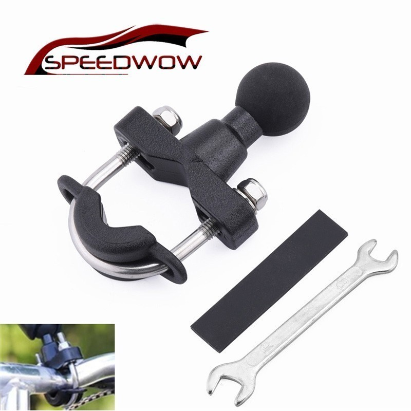 SPEEDWOW Motorcycle Handle Bar Rail Mount 12-37mm Width U-Bolt Mounting Base With 1 Inch Ball For Gopro GPS Mobile Phone PDA