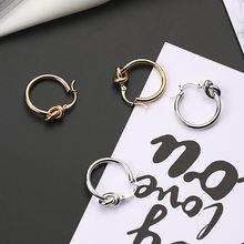 Уникальный дизайн маленькие серьги кольца с узлом для женщин