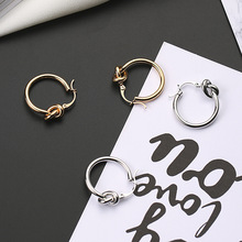 Unique Design Knotted Small Hoop Earrings For Women Cute Round Aros Fashion Brincos Oorbellen Ear Jewelry New Gifts 2017 XE424