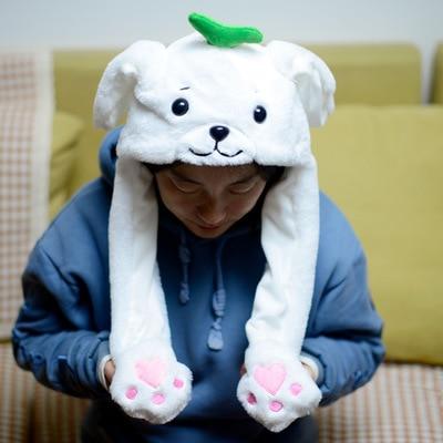 Новинка, Мультяшные шапки с подвижными ушками, милый Игрушечный Кролик, шапка с подушкой безопасности, Kawaii, забавная шапка для девочек, детская плюшевая игрушка, рождественский подарок - Цвет: Grass sea lion