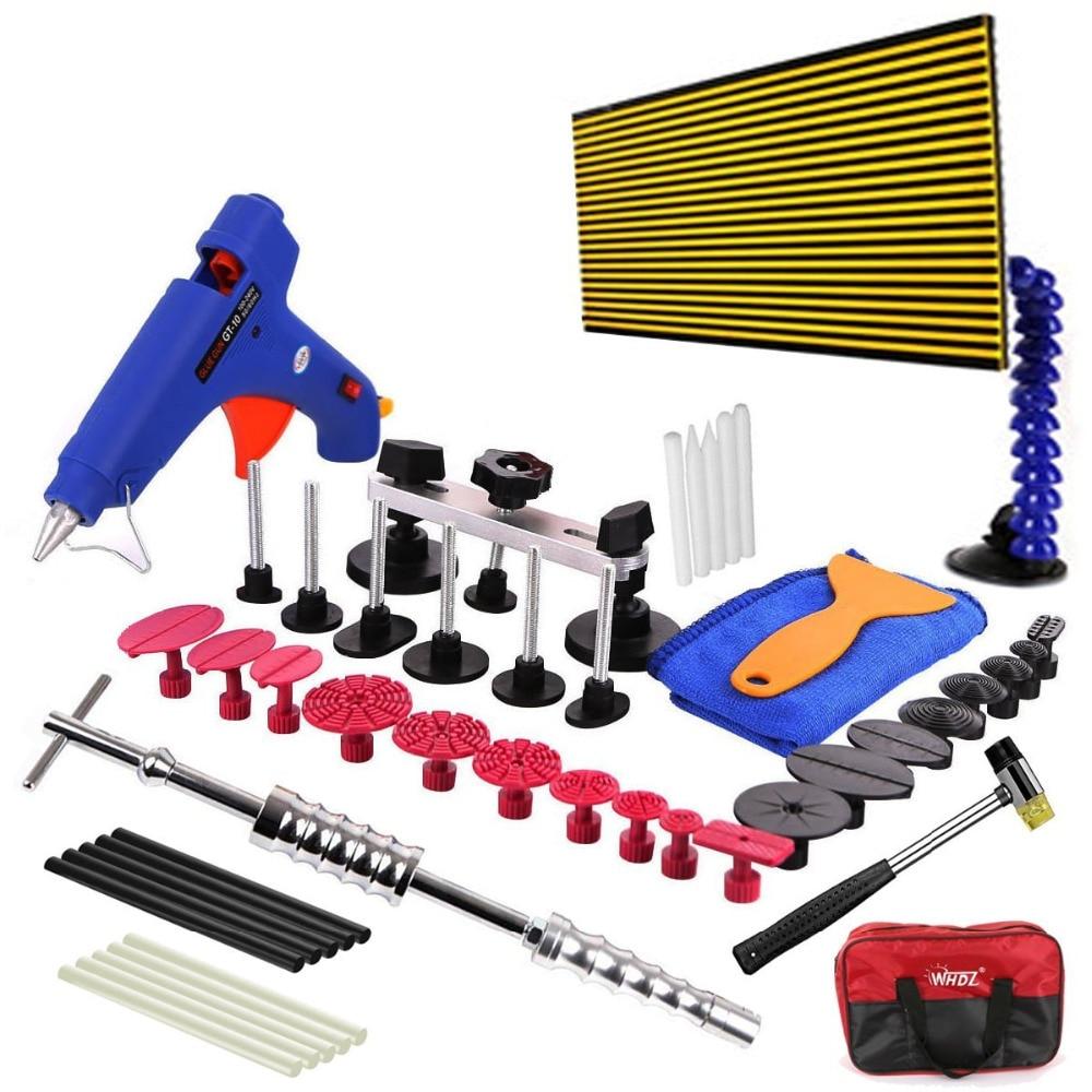 WHDZ 48pcs LED Reflector Line Boder Paintless Dent Repair Tool Kits Slide Hammer Golden Dent Pulller Set Tap Down Tips