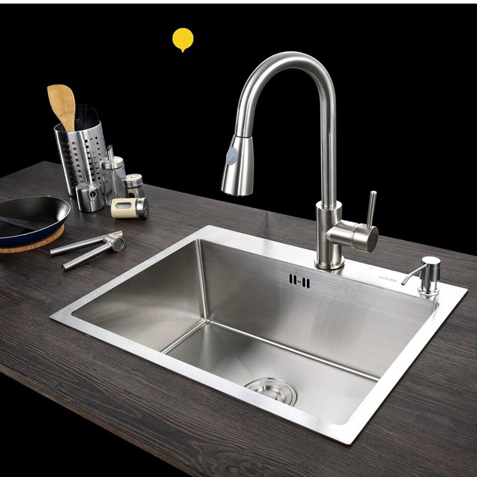 C & C cuisine évier navire ensemble avec robinet simple évier cuisine évier lavage vanité SUS304 acier inoxydable