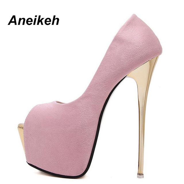 Aneikeh 2018 zapatos de marca para mujer 16 cm tacones altos zapatos de  tacón fino de 2774a9d4237f