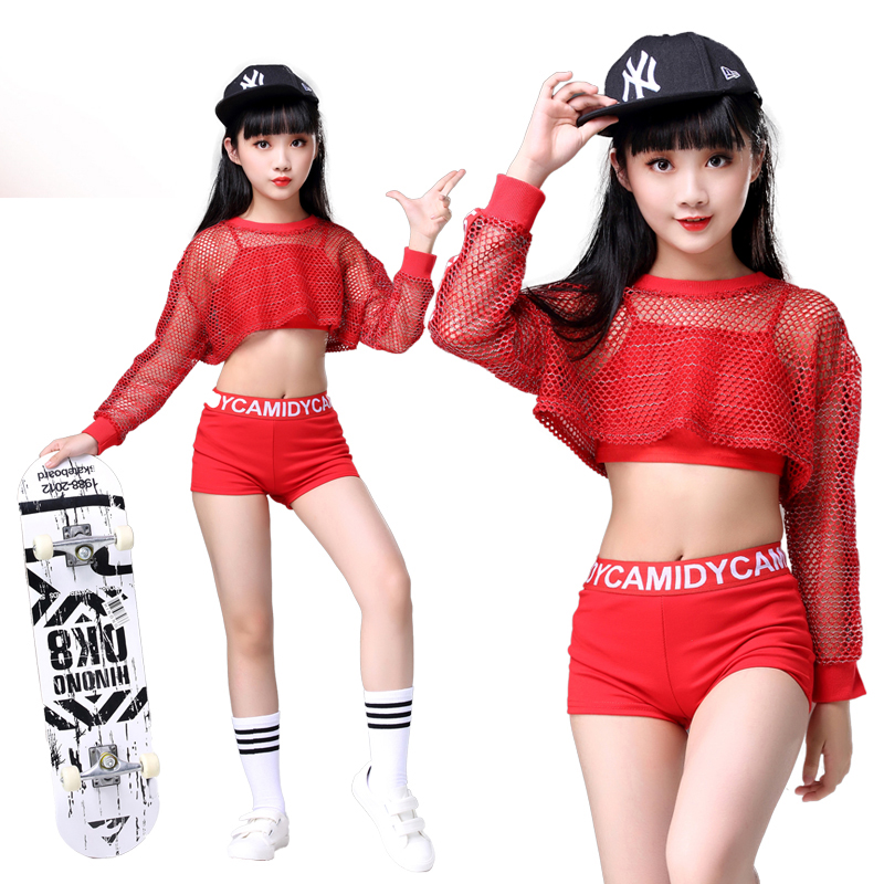 3PCS Girls Red Cool Ballroom Jazz Hip Hop Dance Competition Costume Tank Tops Shorts Net Blouse For Kid Dancing Clothing Outfits