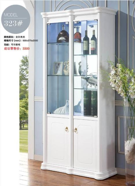 323# Living Room Furniture White Display Showcase Wine Cabinet Living Room  Cabinet