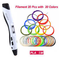 Bolígrafo 3D impresión SL-300A inteligente 100M 20 piezas PLA baja temperatura bolígrafos 3D filamentos DIY pintura juguetes dibujo regalo