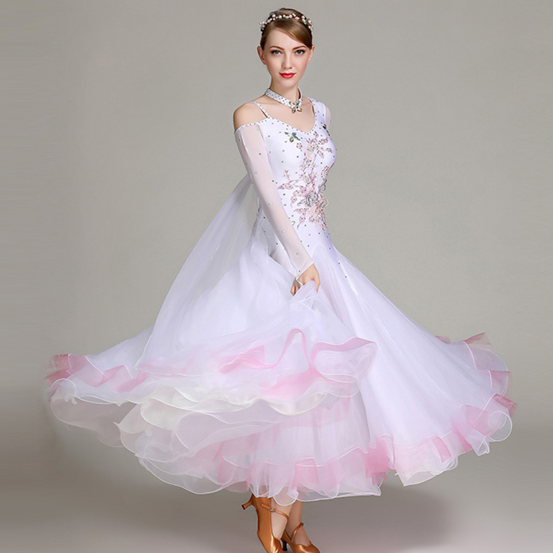 White Ballroom Dance Competition Dress Fringe Dance Wear Ballroom Waltz Dress Rumba Costumes Ballroom Dancing Dress Foxtrot